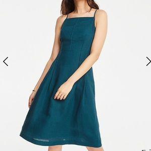 Ann Taylor linen blend halter flare dress